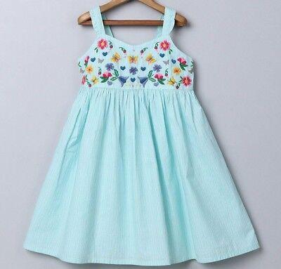 Girls BE boutique sundress 0-3-6-9-12-18-24 NWT aqua white dress embroidered