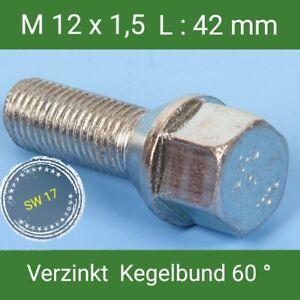 Radschrauben M12x1,5 Radbolzen St Auswahl Dacromet Kegelbund 60° SW17 L 43 mm