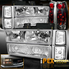 1994-1998 GMC Sierra Yukon Chrome Headlights + Corner Signal + Smoke Tail Lights