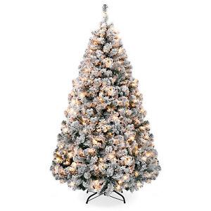 BCP-6ft-Snow-Flocked-Pre-Lit-Artifical-Pine-Christmas-Tree-w-Warm-White-Lights