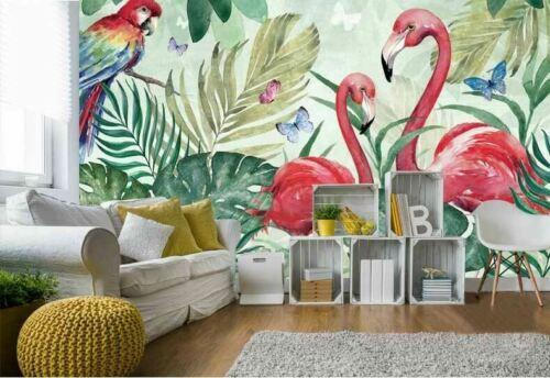 Tropical Flamingo Wall Mural Paper Nursery Kid Girls Decor DIY Decal Sticker B62