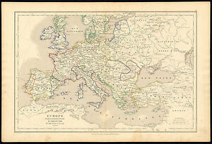 Antique Map Historical Europe Late Middle Ages Drioux Leroy 1854 Ebay