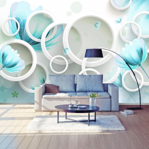 Papier Peint Turquoise Fleurs Blanc 3d Cercles