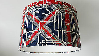 London Underground Tube Map Wallpaper Lampshade..handmade.(red,white,blue)