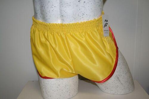 Retro Nylon Satin Sprinter Shorts S to 4XL,Yellow Red Trim