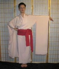 "Vintage Japanese Juban Under Kimono Wedding Bridal Furisode Silk ""Powder Pink"""