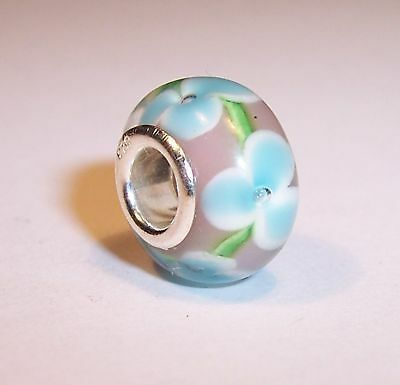 LILAC & BLUE FLOWER MURANO GLASS 925 STERLING SILVER CHARM BEAD & GIFT POUCH