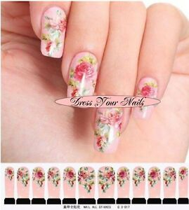 Image Is Loading Water Decals Pink Fl Nail Wrap Sticker Transfer