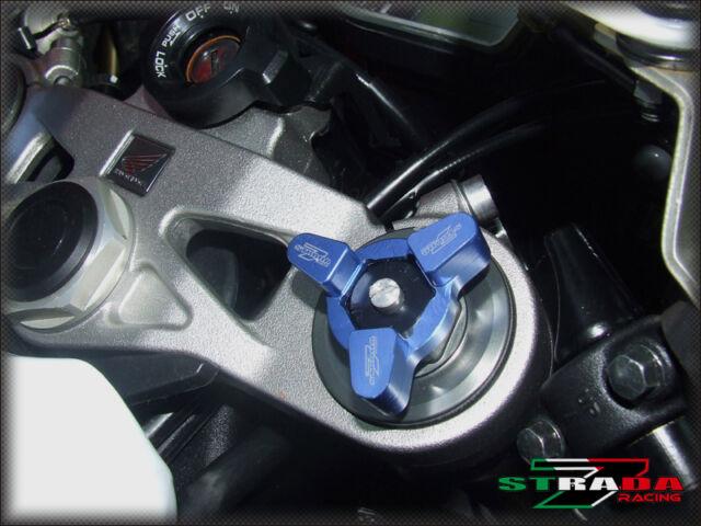Strada 7 22mm CNC Front Fork Preload Adjusters Kawasaki ZX636R Z1000 ZXR400 Blue