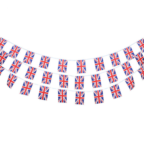 10M Polyester Britische Union Jack Flagge Bunting Banner Double Sided