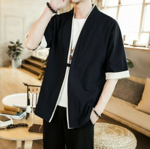Summer Men Linen Blouses Chinese style Cardigan Plain T-Shirts Tops Leisure New