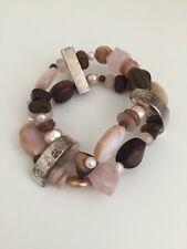 Silpada Sterling Silver Pearl Rose Quartz Wood Pink Bracelet B1418 $139 Retired!