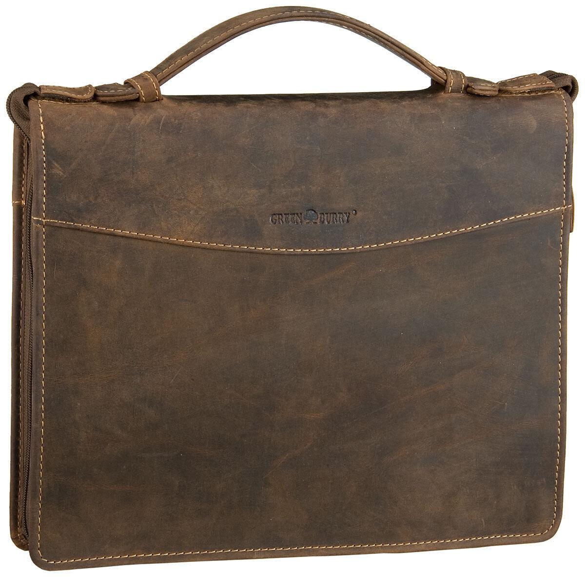 Grünburry Vintage A4 Ringmappe Schreibmappe Leder Herren Aktenmappe Business | Fein Verarbeitet  | Hohe Qualität und geringer Aufwand  | Vielfalt