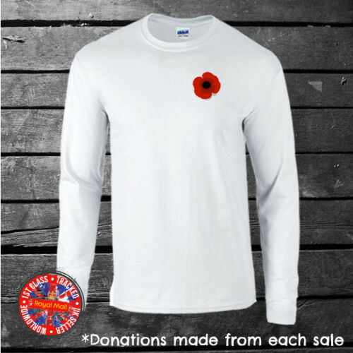 Poppy Long Sleeve T-shirt Mens Ladies *Donations to the Royal British Legion