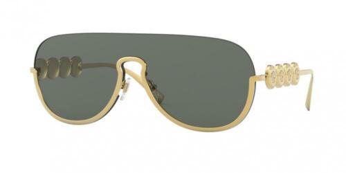 NWT Versace Pilot Sunglasses VE2215 100287 Gold Grey 39MM VE 2215 NIB