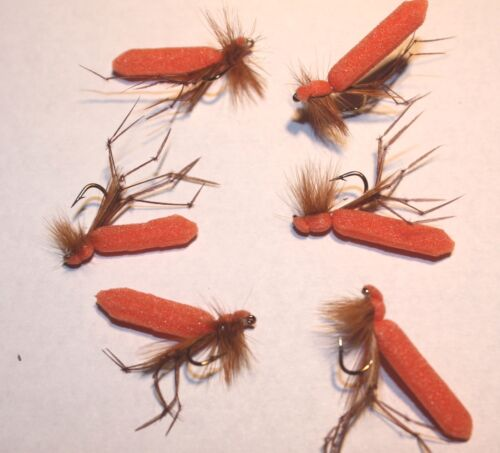 6 No trout dry fly-Ref D09 size 10 Orange Foam Bodied Daddylonglegs