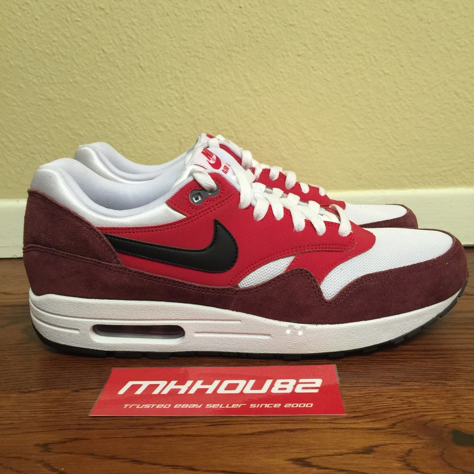 Nike Blanco Air Max 1 Essential AM1 537383116 Blanco Nike Negro Rojo Universitario Zapatos 8b3b61