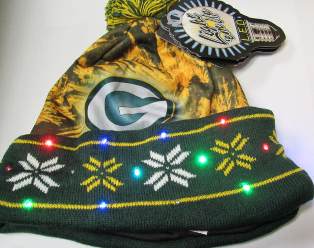8e101d69d09ad3 Official Licensed NFL Big Logo Light up Printed Beanie Knit Cap - Pick Team  Green Bay Packers
