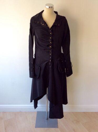 Hemline Coat Large Hooded Størrelse m Lomme Ujævn Bnwt Rare Black S AxqpRAw0Y