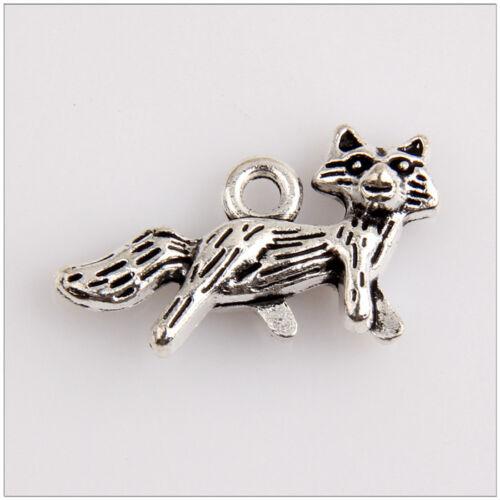 22 Fox Tibetan Silver Charms Pendants Jewelry Making Findings EIF0625