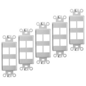 3x White Decorator Style 4 Hole Keystone Blank Insert 4 Port Wall Plate NEW
