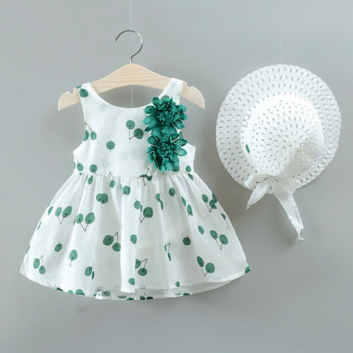 2Pcs Toddler Kid Baby Girl Cherry Printed Princess Dress+Hat Outfits Set Clothes