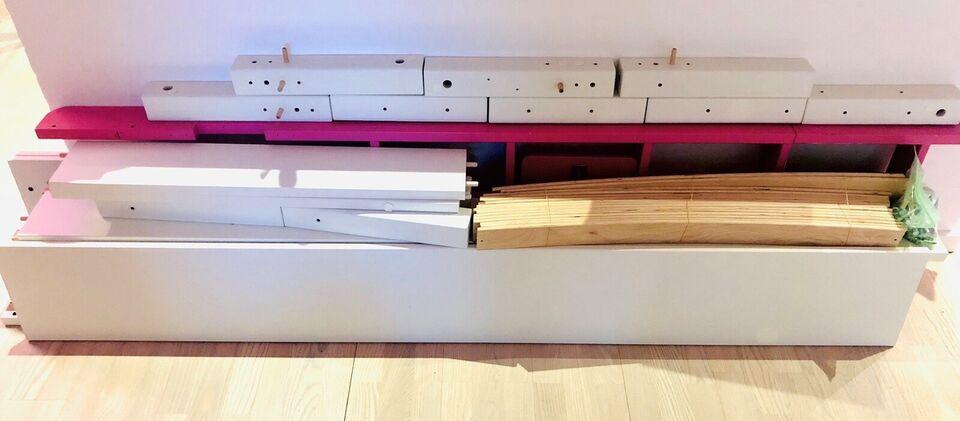 Højseng, Manis-h Gefion i hvid/pink , b: 95 l: 200