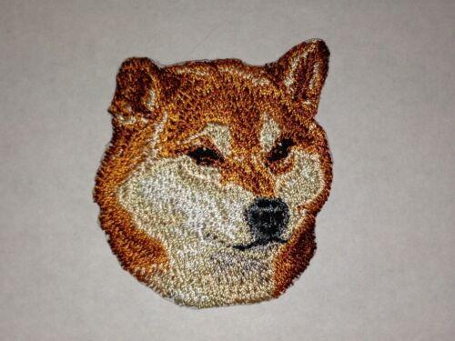 "1 7//8/"" x 2 1//8/"" Shiba Inu Canine Dog Breed Portrait Embroidery Patch"