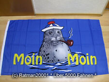 Fahnen Flagge Moin Moin Seehund Pfeife - 90 x 150 cm