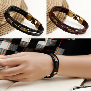 Image Is Loading Men Genuine Leather Bracelet Stainless Steel Anchor Nautical