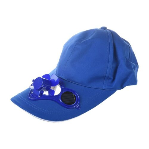 Solar Sun Power Hat Cap Cooling Cool Fan Blue H8D1