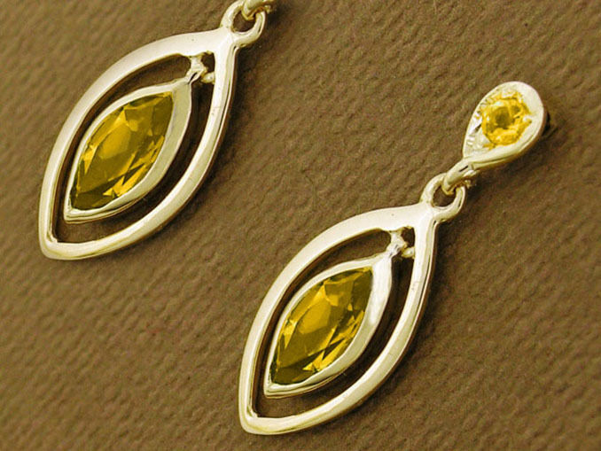 E094- Genuine 9ct Solid Yellow gold Natural Citrine Dangling Stud Earrings Drop