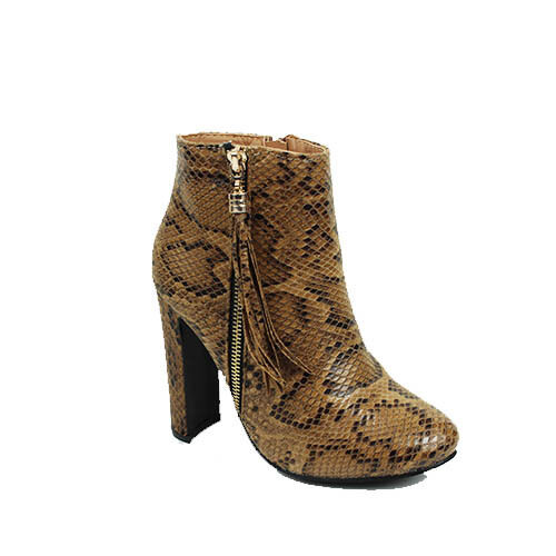 WOMENS CASUAL HIGH HEEL TASSEL FRINGE ZIP UP ANKLE BOOTS LADIES SHOES SIZE 3-7