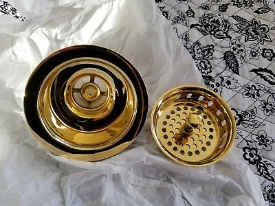 Systematic Nib Brasstech 121/24 Polished Gold Large Kitchen Sink Basket Strainer Pure Whiteness Home & Garden Plumbing & Fixtures