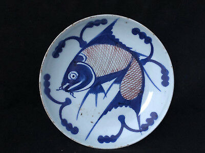 Levendig Antique Chinese Porcelain Blue White Fish Plate Plat Assiette Chine Poisson Exquise (On) Vakmanschap