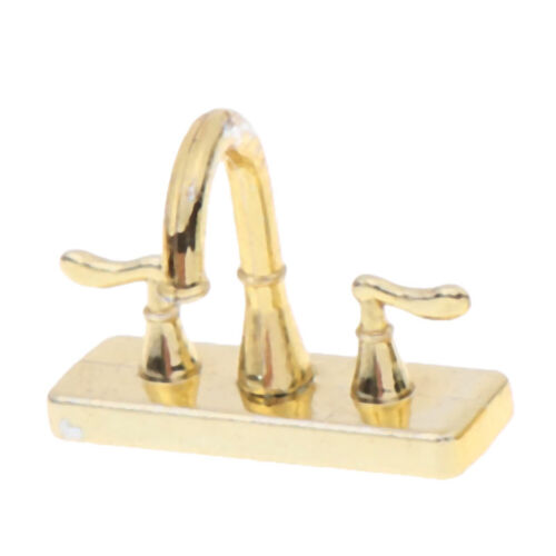 1//12 Dollhouse miniature accessories mini alloy double faucet for decoration ^D