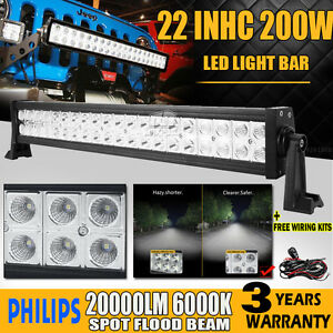Spot flood 20in 126w cree led work light bar offroad 4wd truck atv suv - 22inch 200w Philips Led Work Light Bar Spot Flood Combo