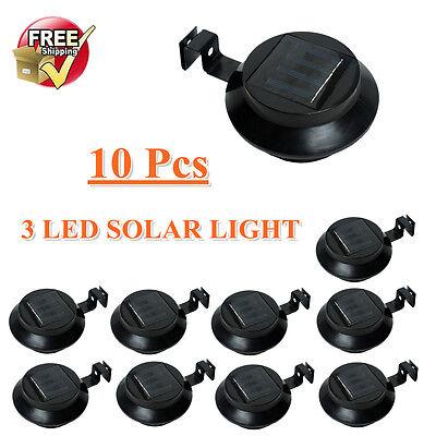 10 x Solar Fence Light 3LED Gutter Outdoor Garden Yard Pathway Lamp Lights Black