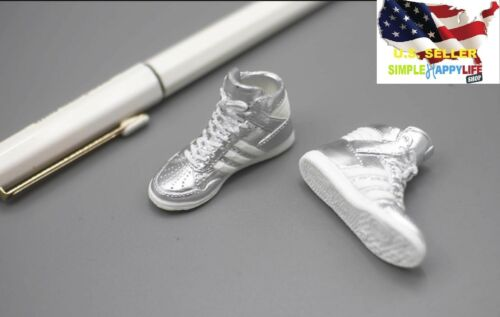 """1//6 female fashion sneakers shoes silver for 12/"""" figure phicen hot toys ❶USA❶"""