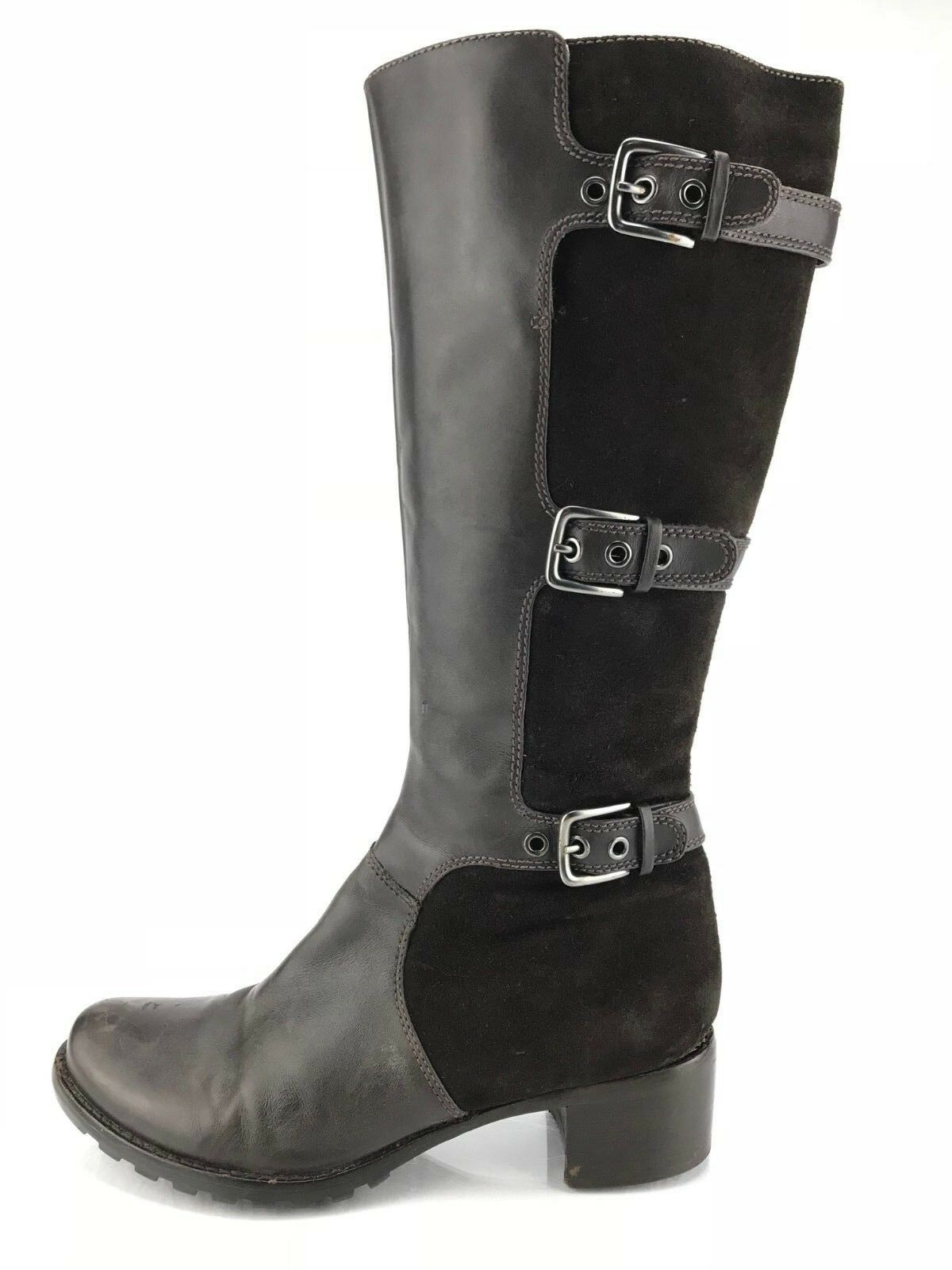 Ecco Knee High Stiefel - braun Leather Suede Low Heel Buckles Zipper damen Größe 8