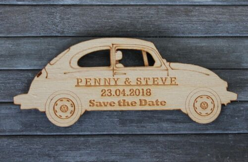 Classic VW Volkswagen Beetle Shaped Save the Date fridge Magnets Personalised