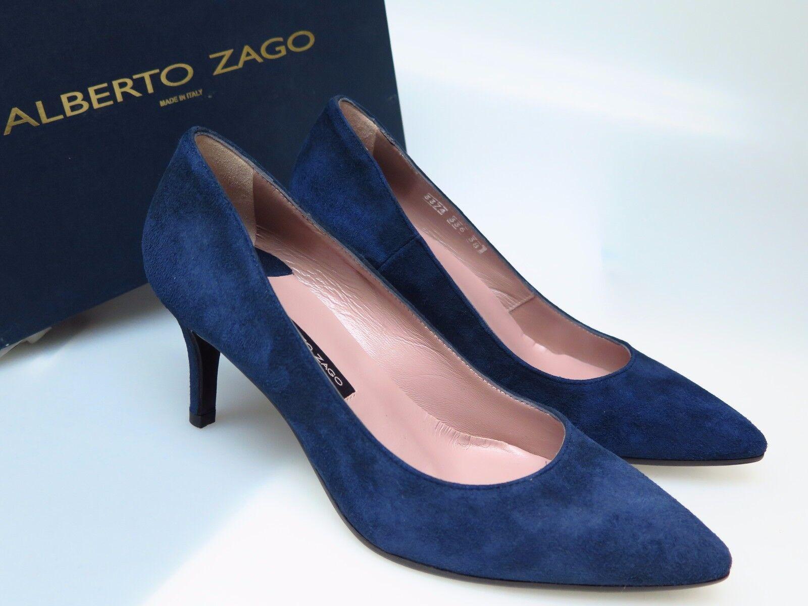 ALBERTO ZAGO Damenschuhe Schuhe A33374 Camoscio Blu Blau Ala Gr. EU 38 NEU
