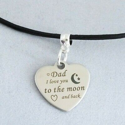 """/""""Dad I Love You to the moon /& back/"""" laser engraved pendant 18/"""" leather necklace"""