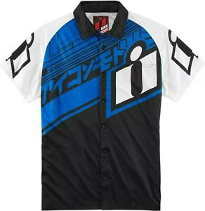 NEW Icon Racing Men's Medium Hypersport Shop Pit Shirt Blue Polo Tee Button Crew
