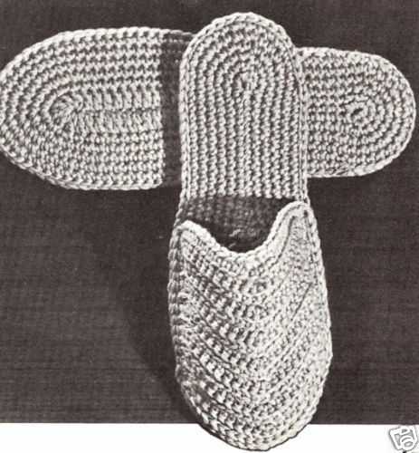 Vintage Crochet Pattern To Make Mens Spa Slippers Slides Scuffs
