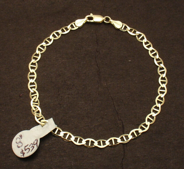 Gucci Link Chain For Sale Ebay >> 4mm 8 Mariner Anchor Gucci Link Chain Bracelet Real Solid 10k Yellow Gold