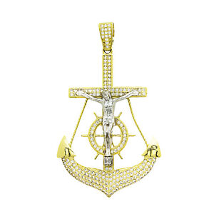 14K Yellow Gold White Sapphire Mariner Anchor Cross Pendant 11.5 Grams