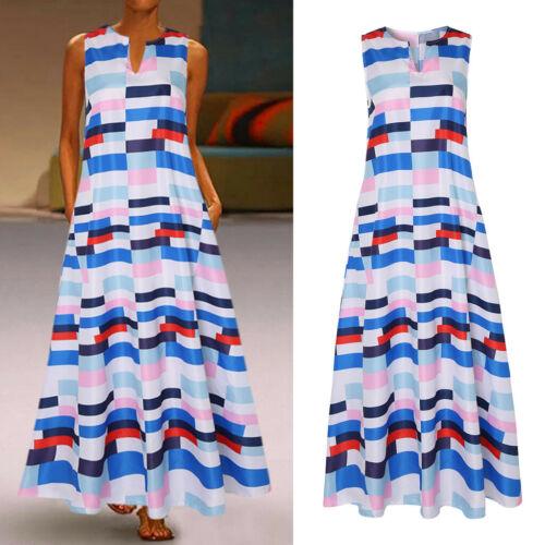 Womens Summer Casual Vintage V-Neck Sleeveless Long Bohemian Maxi Dresses