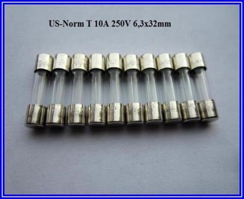 FST fusible us norma de copia de seguridad de vidrio t 10a 250v letárgico 6,3x32mm finamente 10 unid.
