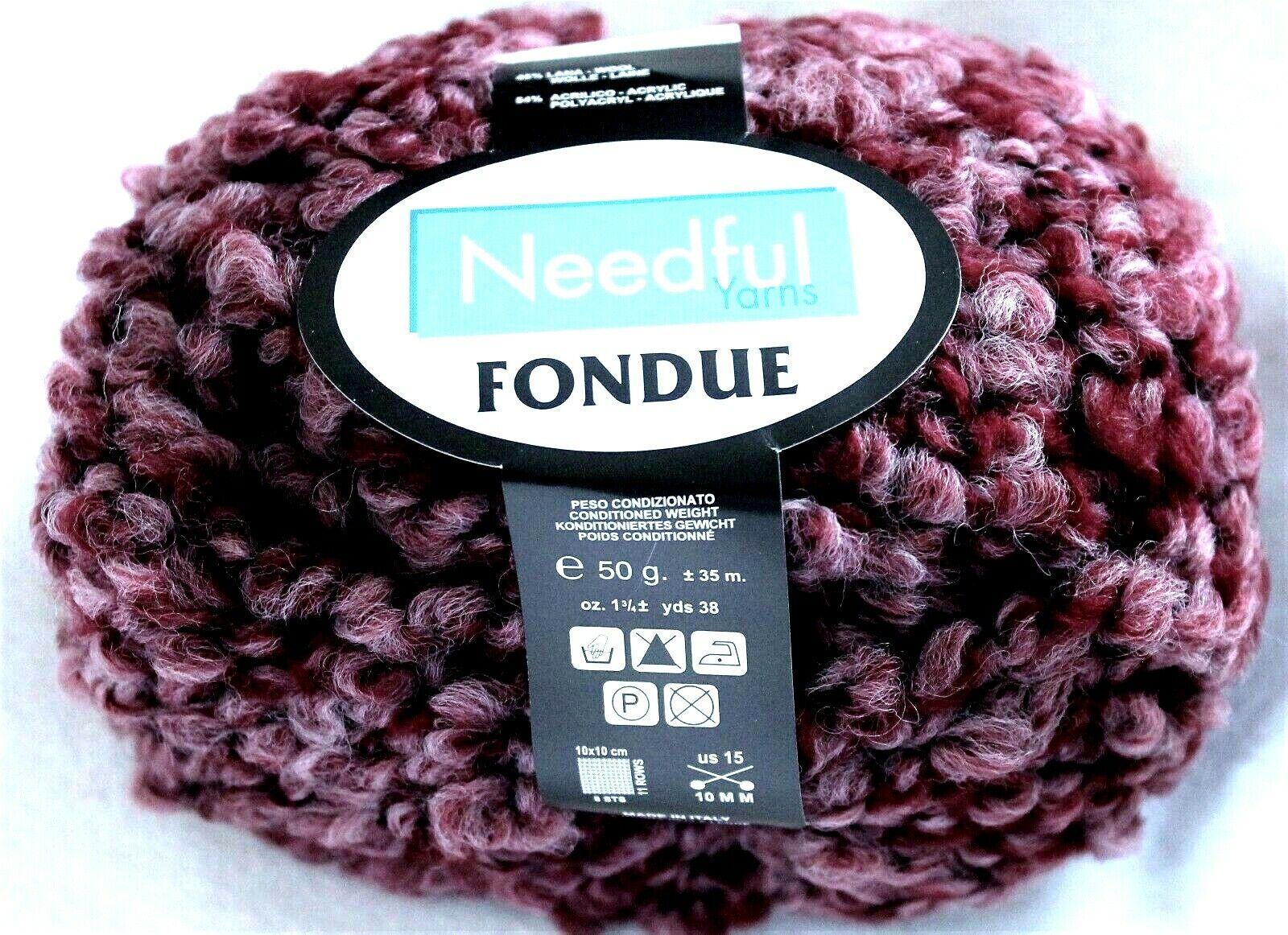 Needful Yarns FONDUE Lamb-Soft Wool Boucle Yarn #4935 Plum Burgundy SALE